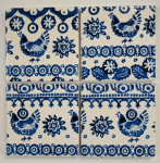 4 Ceramic Coasters in Emma Bridgewater China Blue Hens/Chickens